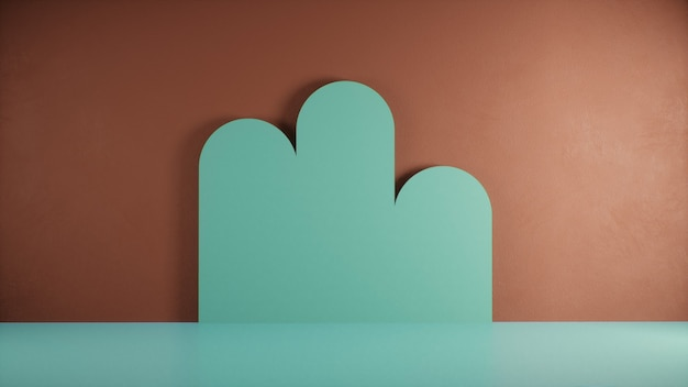Минимальный фон, макет сцены с зеленой формой облака на оранжевой стене. 3d рендеринг