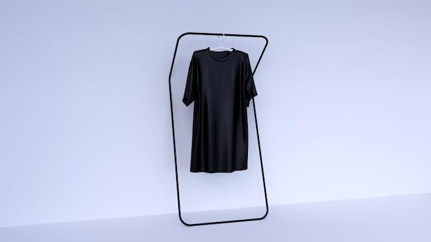 最小限の背景、無地の黒のtシャツでシーンをモックアップ