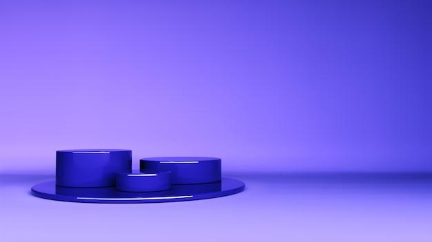 最小限の背景、製品展示用の表彰台付きのモックアップシーン。 3dレンダリング