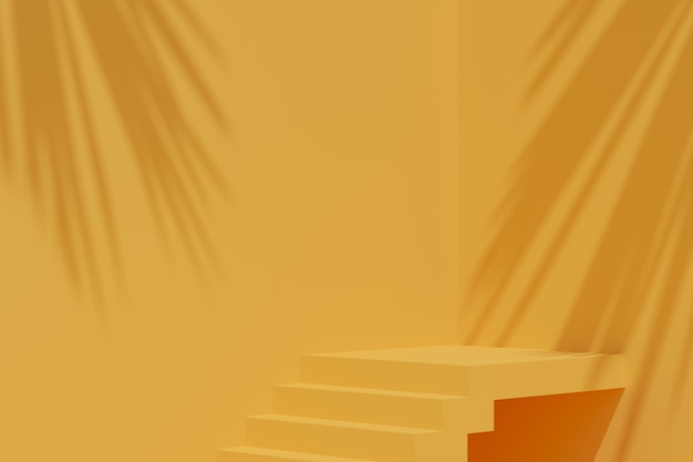 最小限の背景、製品表示用の表彰台のあるシーンのモックアップ。 3dレンダリング