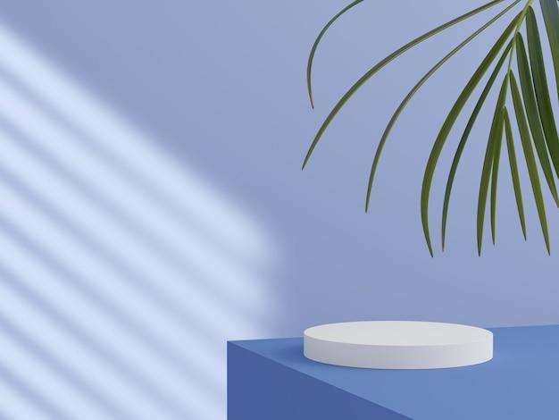 製品ディスプレイの3dレンダリング用の表彰台付きの最小限の背景モックアップシーン