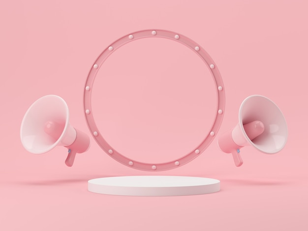 제품 디스플레이 3d 렌더링을 위한 연단이 있는 최소 배경 모의 장면