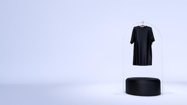 最小限の背景、製品展示用の表彰台付きのモックアップシーン。と無地の白いtシャツ