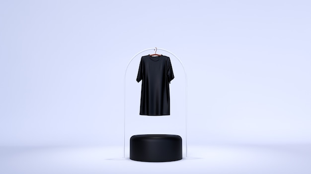 Minimal background, mock up scene with podium for product display. and plain white t-shirt