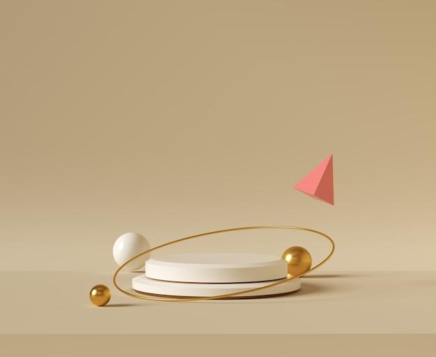 最小限の背景、製品展示用の表彰台でモックアップ、抽象的な白い幾何学図形