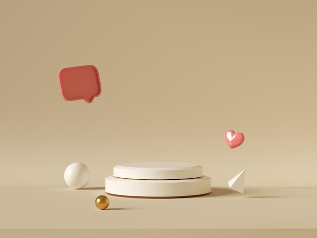 최소한의 배경, 제품 디스플레이를위한 연단으로 조롱, 추상 흰색 기하학 모양