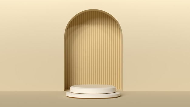Minimal background, mock up with podium for product display,abstract white geometry shape