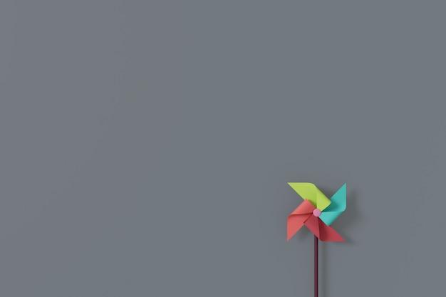 Minimal background of paper wind turbine. 3d rendering.