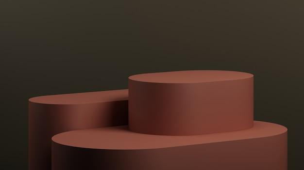 製品プレゼンテーション用の赤い背景を持つ最小限のbackground.podium。 3dレンダリングのイラスト。