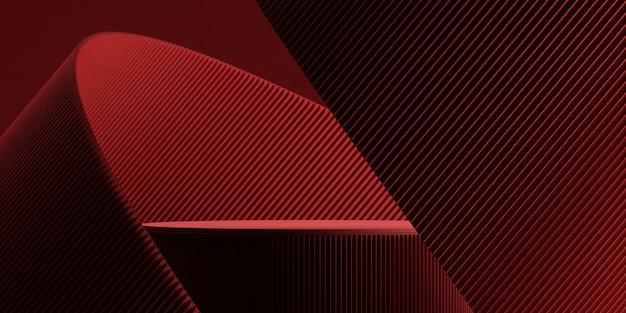 製品プレゼンテーションの3dレンダリングの図解のための赤い背景を持つ最小限の背景表彰台