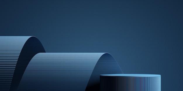 Подиум с синим фоном для презентации продукта 3d рендеринг иллюстрации