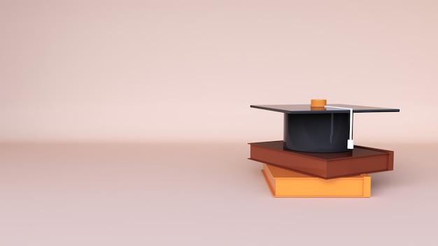最小限の背景、本と卒業式のキャップのスタックの3dレンダリング、およびweb用の空き領域