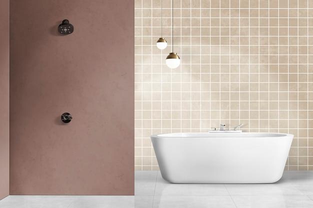 Минималистичный аутентичный дизайн интерьера ванной комнаты