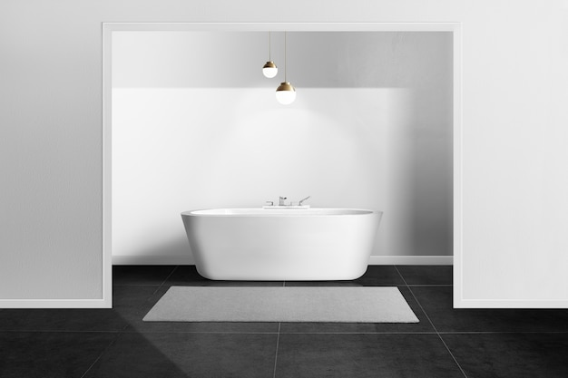 Bagno minimal in bianco e nero