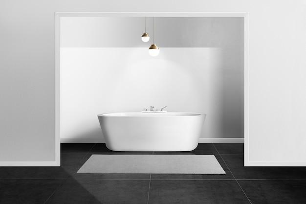 黒と白の最小限のバスルーム