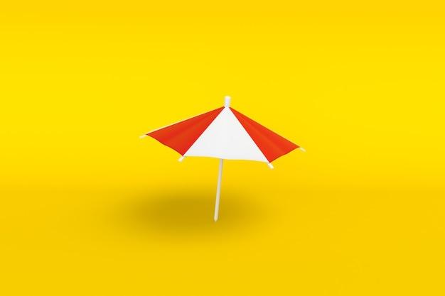 Минимальный пляжный зонт на желтом фоне. символ праздника у моря. 3d иллюстрация
