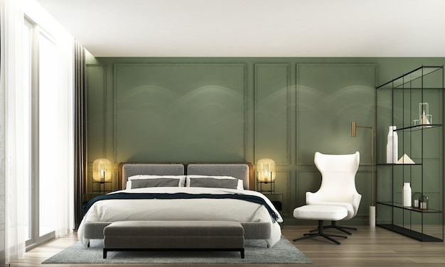 Minimal bedroom interior mock up, grey bed on empty green wall background, scandinavian style, 3d render