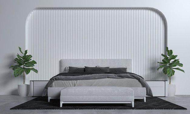 Minimal bedroom interior mock up, grey bed on empty white pattern wall background, scandinavian style, 3d render