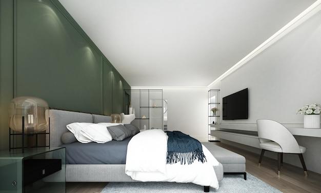 Минимальный макет интерьера спальни, серая кровать на фоне пустой зеленой стены и гардеробная, скандинавский стиль, 3d визуализация