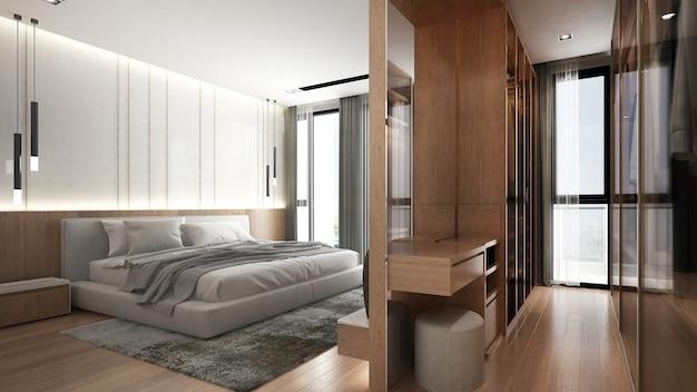 Минимальный макет интерьера спальни, серая кровать на фоне пустой стены и гардеробная, скандинавский стиль, 3d визуализация