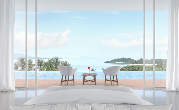 Minimal bedroom with swimming pool and sea view 3d render sliding doors open to see nature