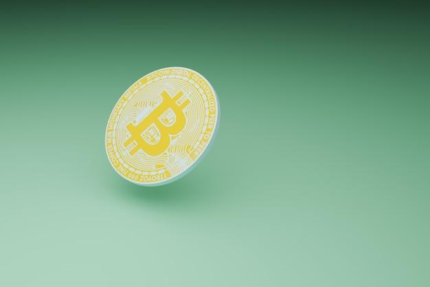 녹색 배경, 3d 그림 렌더링에 최소한의 bitcoin 마이닝