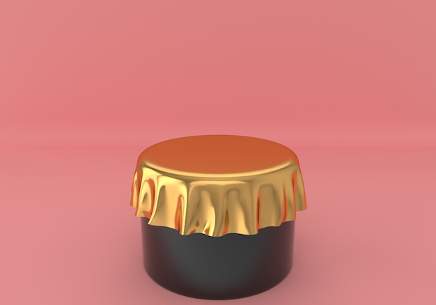 Minimal black round podium with golden tablecloth on pink pastel background