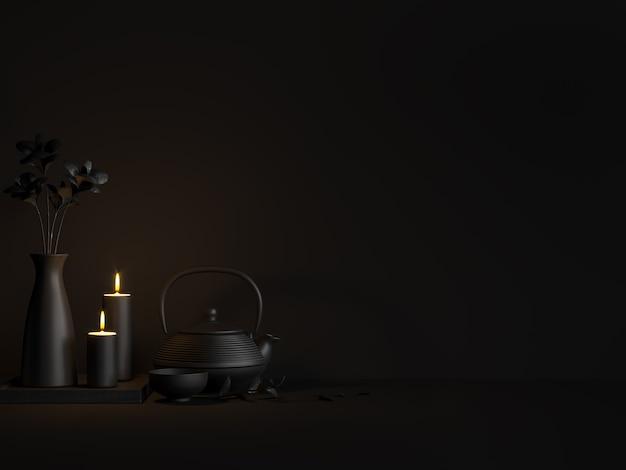 어두운 방 3d 렌더, 그림에 있는 찻주전자와 촛불의 최소 검정 스타일 이미지