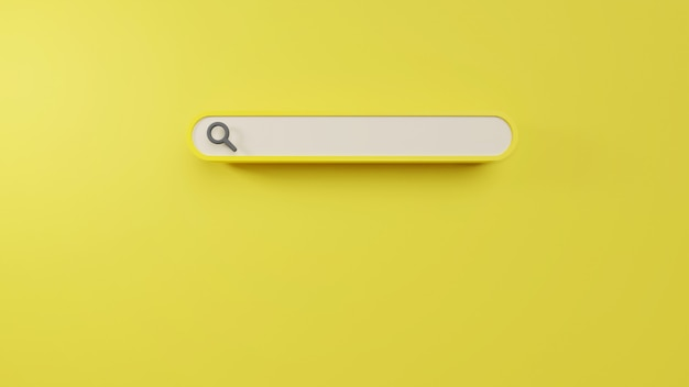 Minimal blank search bar in 3d rendering