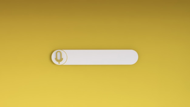 노란색에 최소한의 빈 검색 창. 3d 렌더링