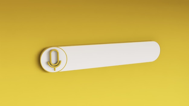 Minimal blank search bar on yellow. 3d rendering