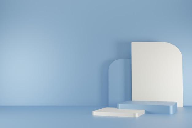 추상적 인 배경 3d 렌더링에 최소한의 파란색 연단 컬렉션