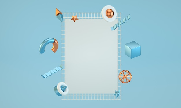 Minimal blue rectangle frame with abstract figures 3d render