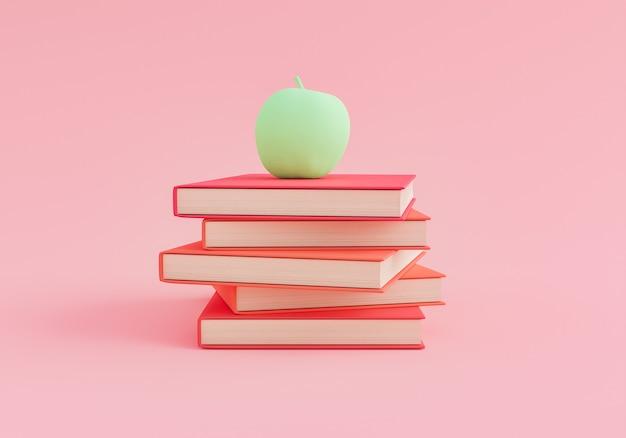 Минималистичные книги с яблоком наверху