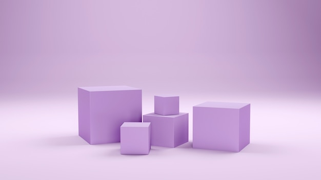 Minimal boxes and geometric podium. scene with geometrical forms. empty showcase for cosmetic product presentation. fashion magazine. 3d render.
