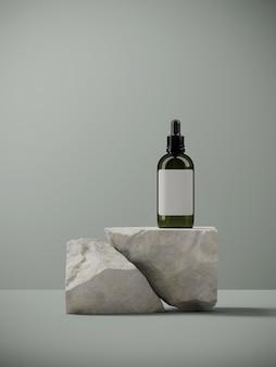 Minimal  for branding and packaging presentation. cosmetic bottle on random shape sand stone, on sage green . 3d rendering illustration.
