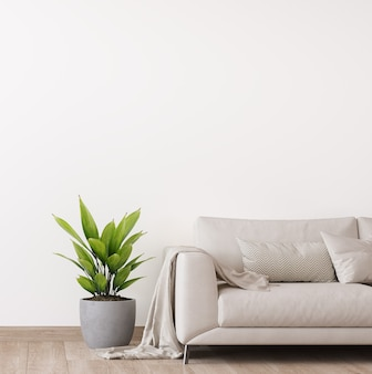 Minimal bright living room design with white sofa and plants