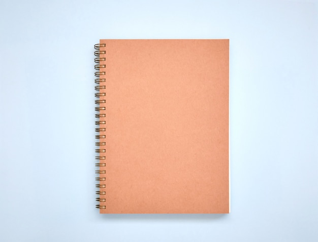 Minimal brown book cover mock up on blue