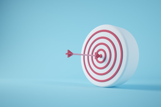 Minimal bullseye with arrow 3d rendering concept