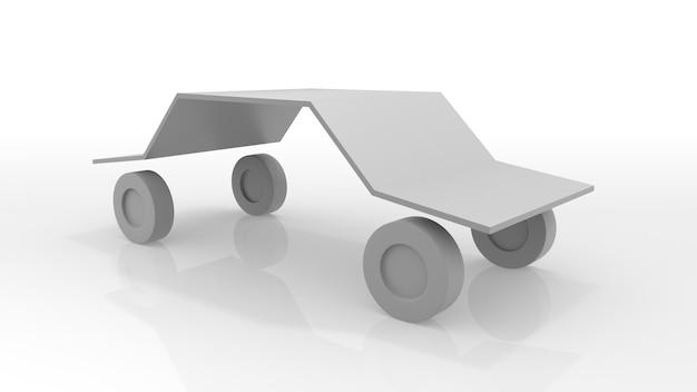 最小限の車のアイコン。孤立した白い背景。 3dイラスト。