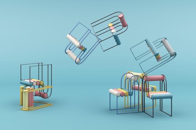 青い3 dレンダリングに最小限の椅子