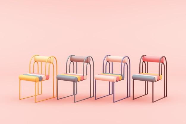 ピンクの3 dレンダリングに最小限の椅子