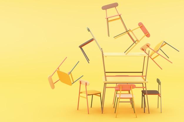 黄色の3 dレンダリングに最小限の椅子