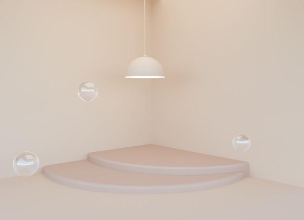製品展示、3dレンダリングのための階段シーンを備えた最小限のシャンデリア