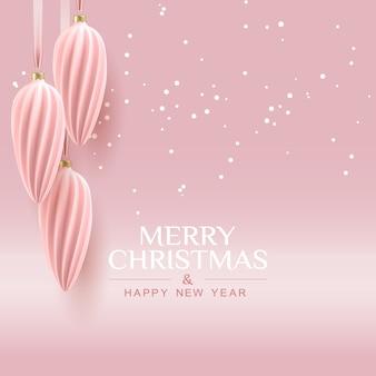 装飾的な排他的なクリスマスボールと挨拶と最小限のクリスマスの黄金のバラの背景