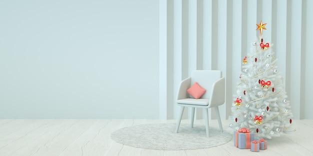크리스마스 트리와 의자 3d 렌더링 최소한의 크리스마스 인테리어 그림