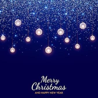 最小限のクリスマスの夜の青い輝きの背景、番号2022と挨拶
