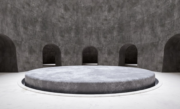 Minimal circular product podium in a empty room surrounded by arches