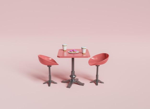 Минимальный журнальный столик с пончиками и двумя стульями