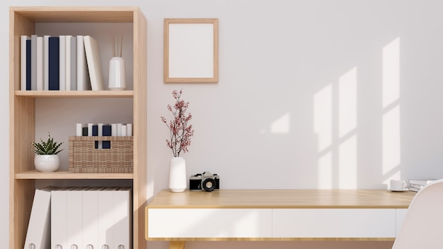 Minimal and comfort home working space interior with wooden furniture copy space on wooden table